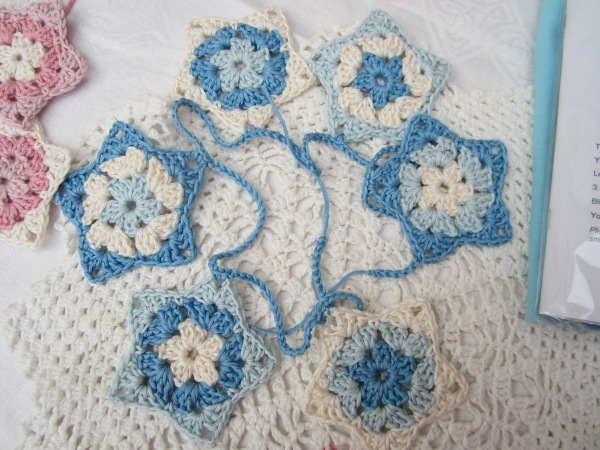 crochet garland star bunting baby blue boy