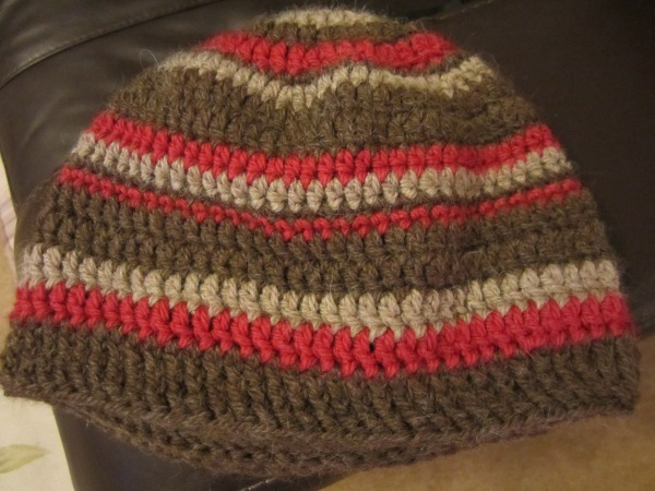 crochet hat retro stripes drops nepal man