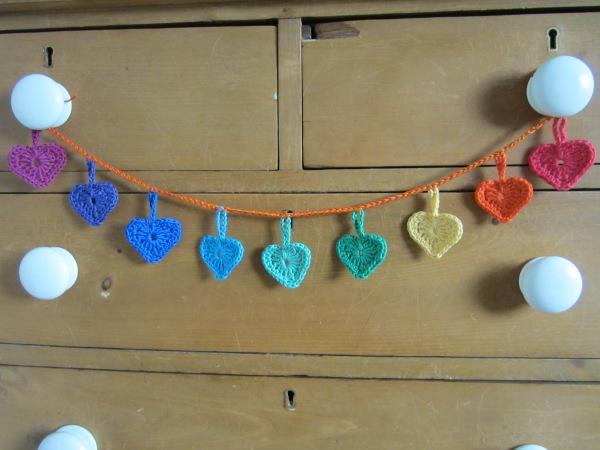 crochet heart garland bunting